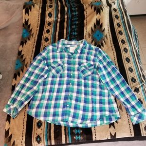 Blue and Green Plaid Button Down Long Sleeve Top